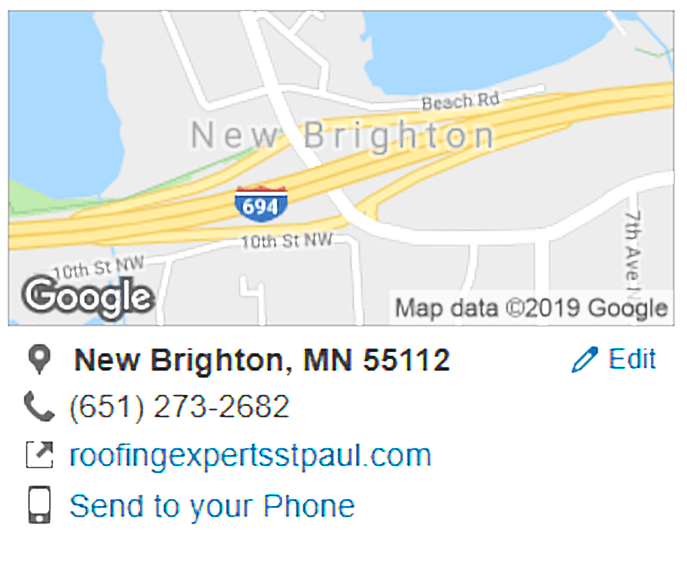 Free Roof Inspection - Google Maps Screenshot.