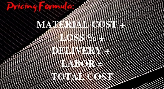 Metal Roof Cost - Corregated Metal Material Background with Formula for Roof Price In Writing - Made on Canva.com