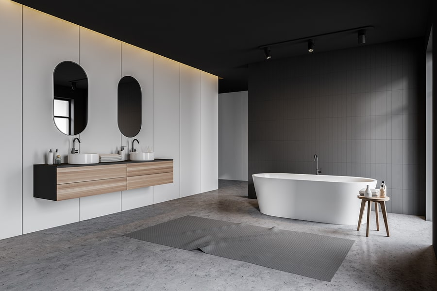 Bathroom Remodeling Minneapolis MN - White and Grey Bathroom with Accents