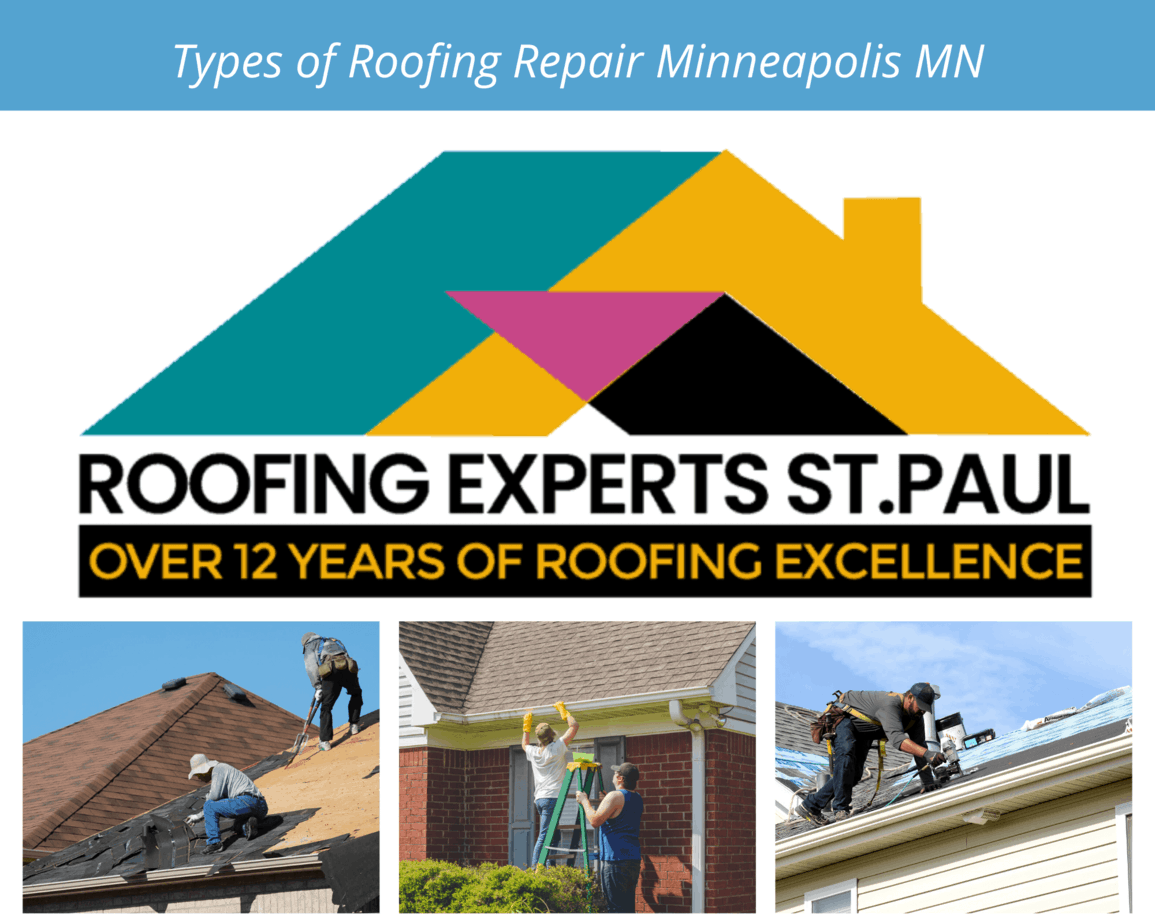 Roof Repair Minneapolis MN - A Sellers Roofing Company Logo with Roof Repair Pictures in a Collage