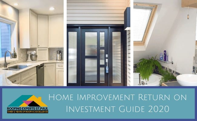 Home Improvement Return on Investment Guide 2020 - A Collage with Three Pictures in it of Remodeled Rooms