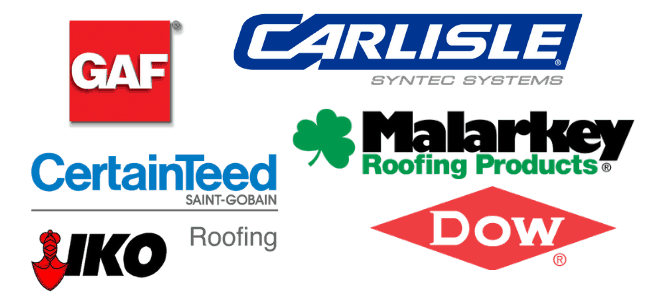 Roofing Contractors St Paul MN - Roofing Material Manufacturer Logos in a Collage