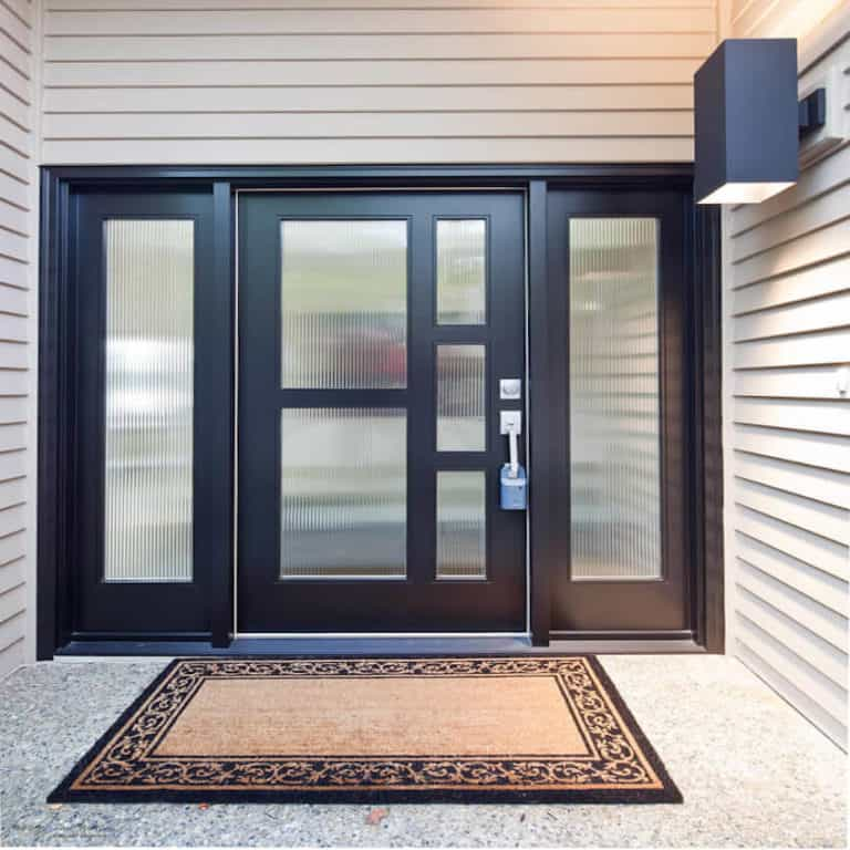 Home Improvement Return on Investment Guide 2020 - A Entry Door Replacement - House with a Black Door with Mirror Tinted Windows