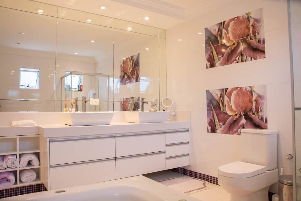 Worst Home Improvements for ROI - White and Rouge Uscale Bathroom Picture