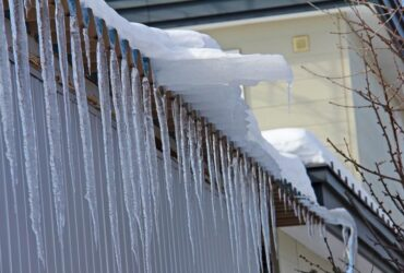 Roof Edge with and Snow and Icicles